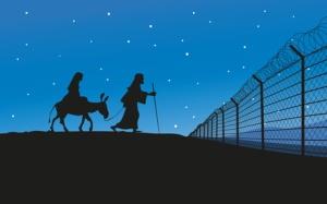 Maria und Joseph vor Grenzzaun